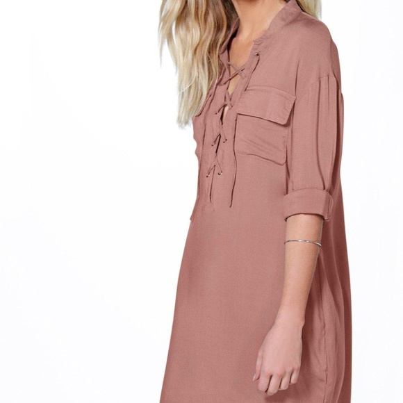 NEW Lace Up Utility Pocket Shirt Dress 40fdf6f83